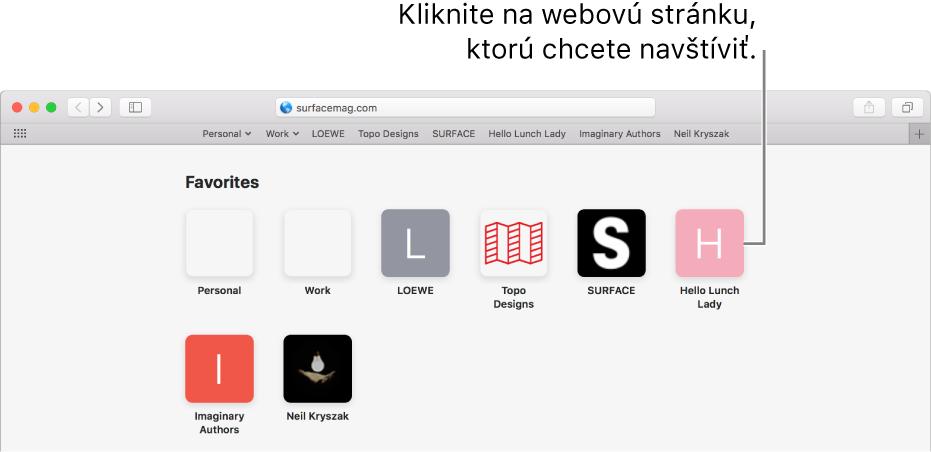 Pole adresy a vyhľadávania v Safari s ikonami obľúbených webových stránok pod ním.