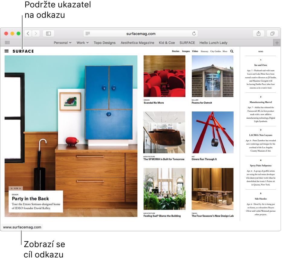 Ukazatel na odkazu webové stránky sadresou URL zobrazenou ve stavovém řádku vdolní části okna