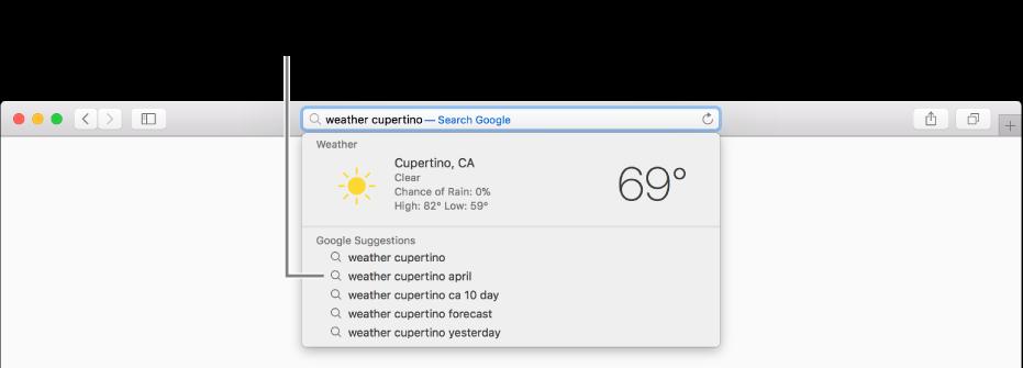 """Søgeudtrykket """"weather cupertino"""" skrevet i det smarte søgefelt og resultater med Spotlight-forslag."""
