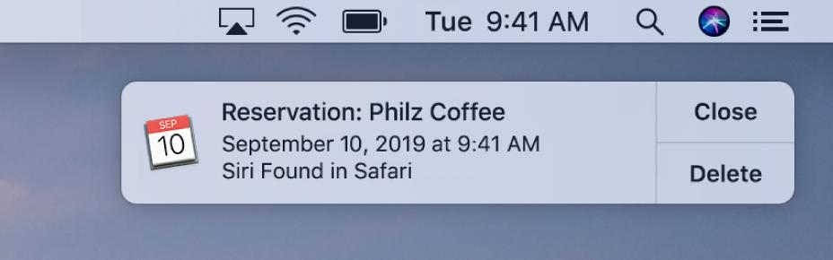 Et forslag fra Siri om at føje en begivenhed fra Safari til Kalender.