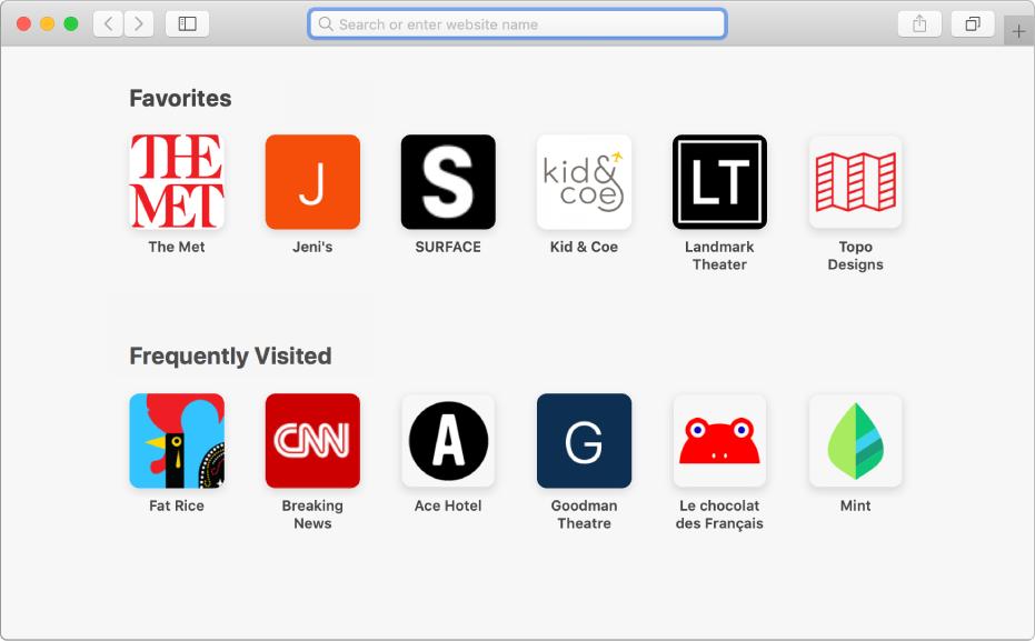 Η σελίδα έναρξης του Safari όπου εμφανίζονται αγαπημένοι και συχνά επισκεπτόμενοι ιστότοποι.