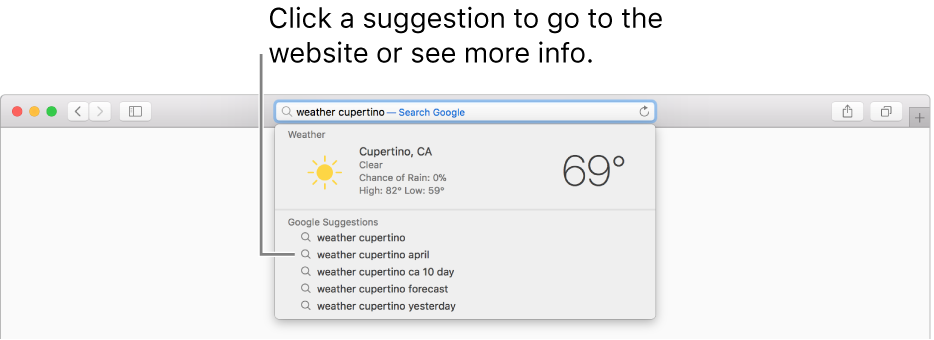 "The search phrase ""weather cupertino"" entered in the Smart Search field, and the Safari Suggestions results."