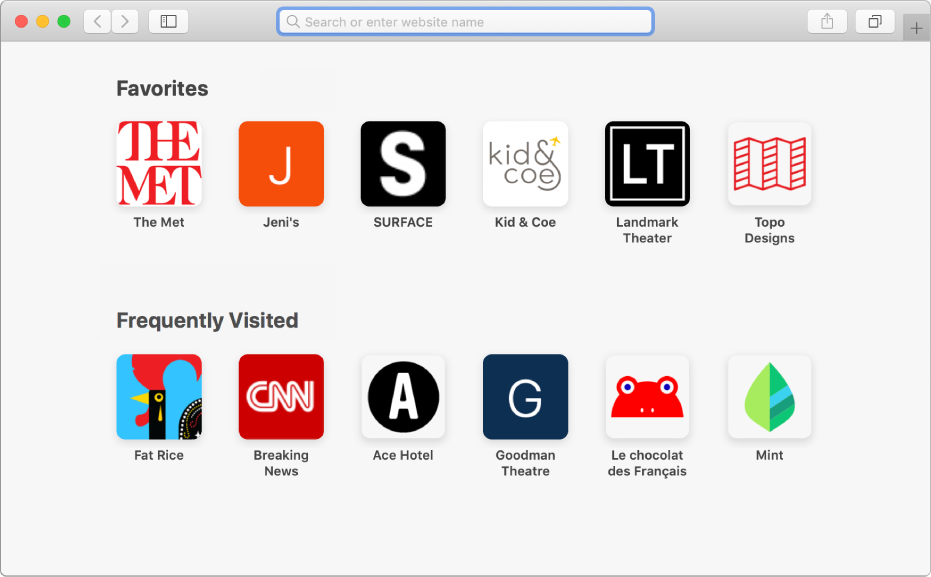 The Safari start page, showing favourite and frequently visited websites.