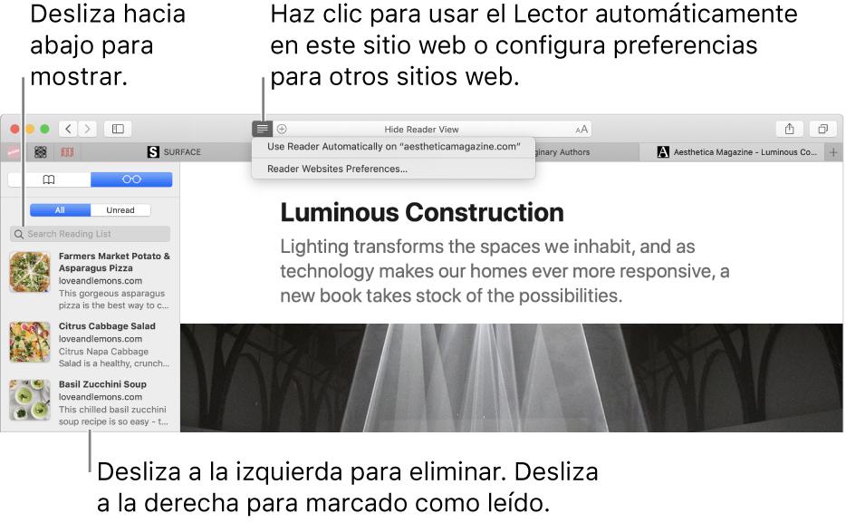 Una ventana de Safari con una lista de lectura visible.