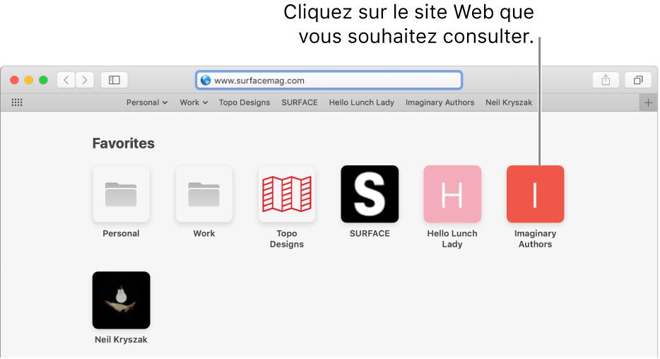 Le champ d'adresse et de recherche de Safari; en-dessous de celui-ci se trouvent les icônes des sites Web favoris.