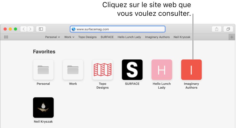 Le champ d'adresse et de recherche de Safari; en dessous de celui-ci se trouvent les icônes des sites web favoris.