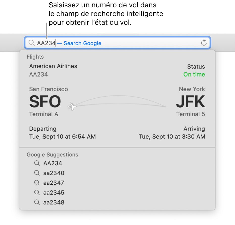 Un numéro de vol saisi dans le champ de recherche intelligente, avec le statut du vol affiché juste dessous.