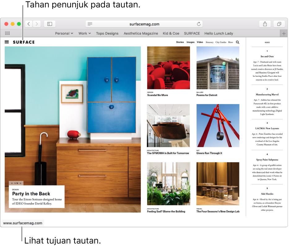 Penunjuk di atas tautan di halaman web dengan URL tautan ditampilkan di bar status di bagian bawah jendela.