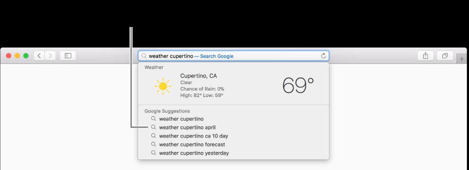 스마트 검색 필드에 입력되어 있는 검색 문구 'weather cupertino'와 Safari 제안 결과.
