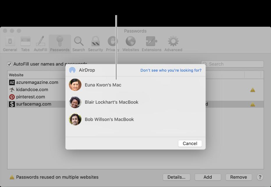 Nastavenia hesla, ktoré zobrazujú okno AirDrop a zoznam zariadení.