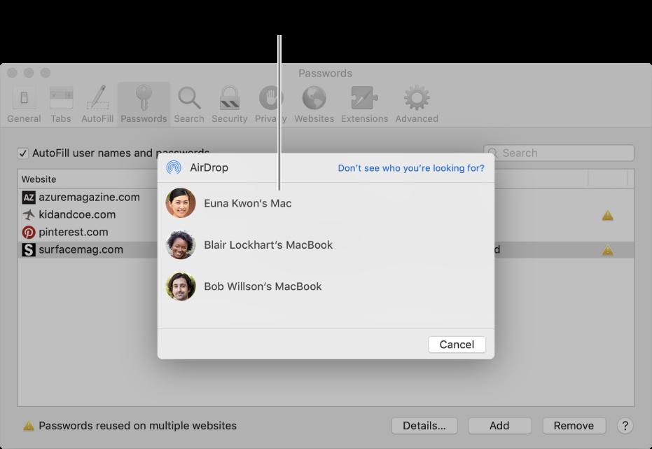 Inställningar för lösenord visar AirDrop-fönstret och en lista över enheter.