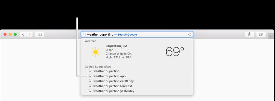 """วลีที่ใช้ในการค้นหา """"สภาพอากาศคูเปอร์ติโน"""" ที่ป้อนในช่องค้นหาอัจฉริยะ และผลการค้นหาของคำแนะนำโดย Safari"""