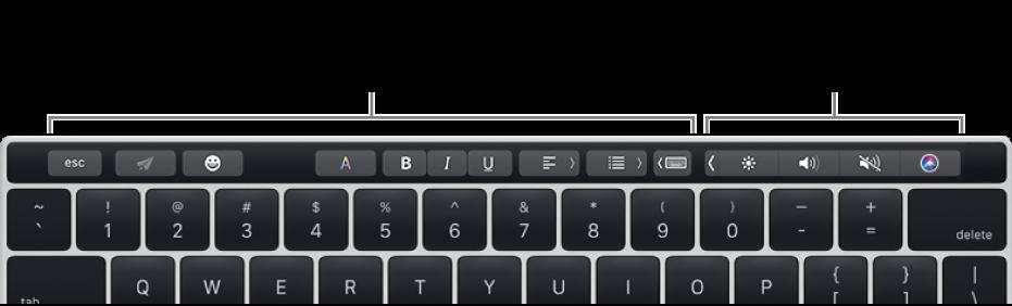 La Touch Bar amb botons que varien segons l'app o la tasca, a l'esquerra, i la Control Strip, a la dreta.