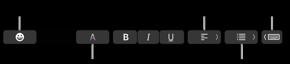 """La Touch Bar amb els botons de l'app Mail que inclouen, d'esquerra a dreta: Emoji, Colors, Negreta, Cursiva, Subratllat, Alineació, Llistes i """"Suggeriments d'escriptura""""."""