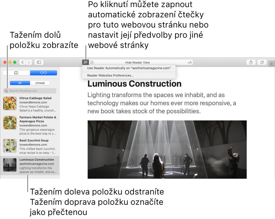 Okno Safari se zobrazeným seznamem četby