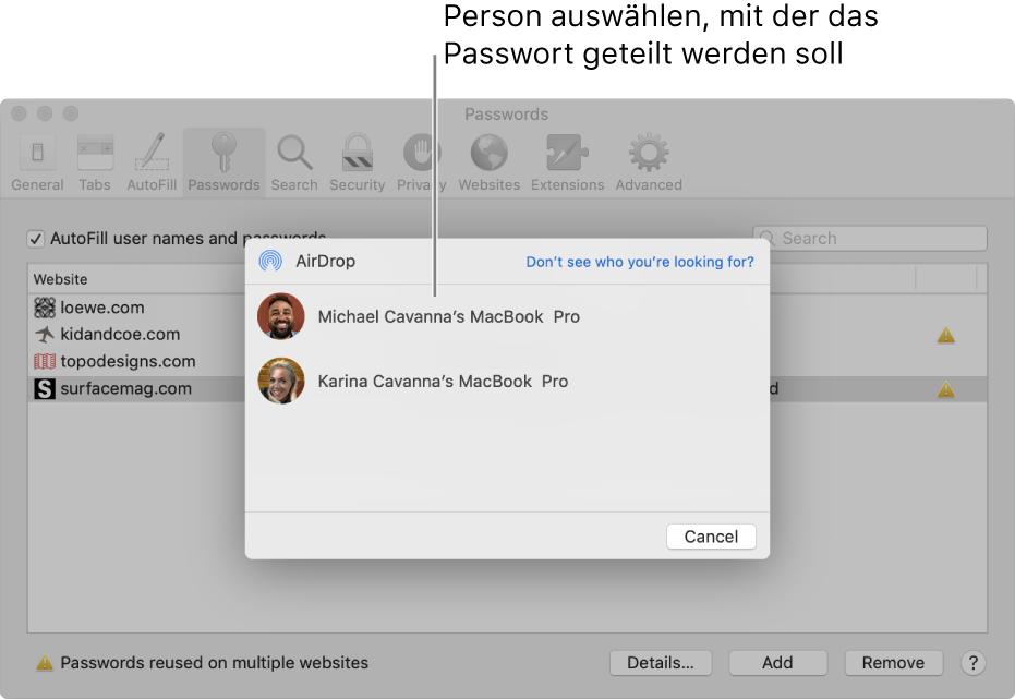 """Bereich """"Passwörter"""" in den Einstellungen, zu sehen sind das AirDrop-Fenster und eine Geräteliste"""