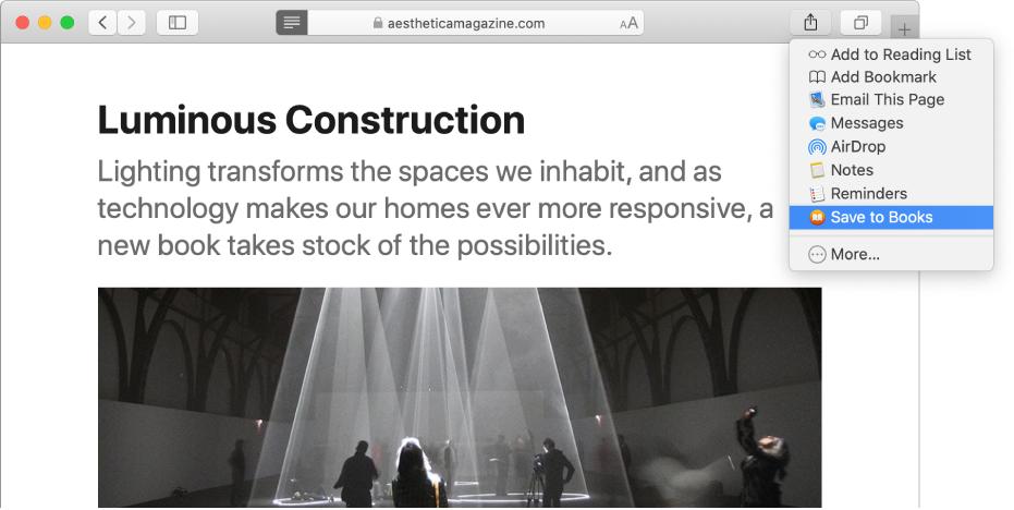 """Una página web con el menú desplegable Compartir abierto y """"Guardar en libros"""" seleccionado."""