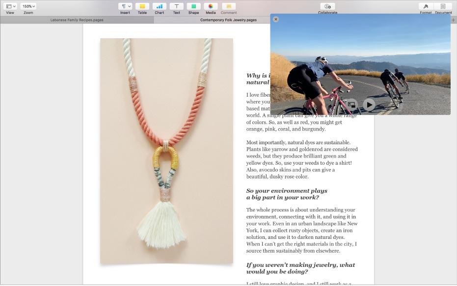 Prozor slike u slici koji lebdi iznad druge web stranice.