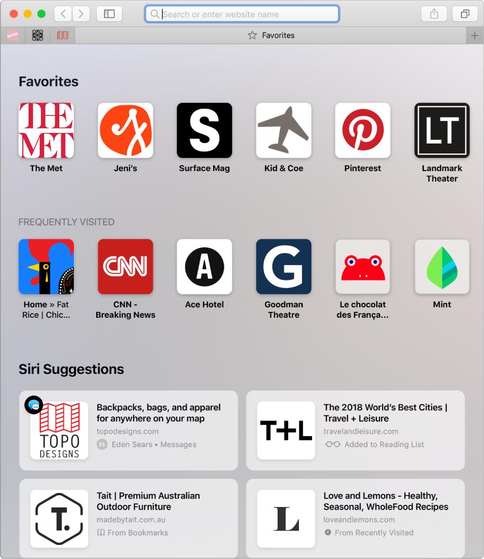 Halaman mulai Safari, menampilkan situs web favorit dan yang sering dikunjungi serta Saran Siri.