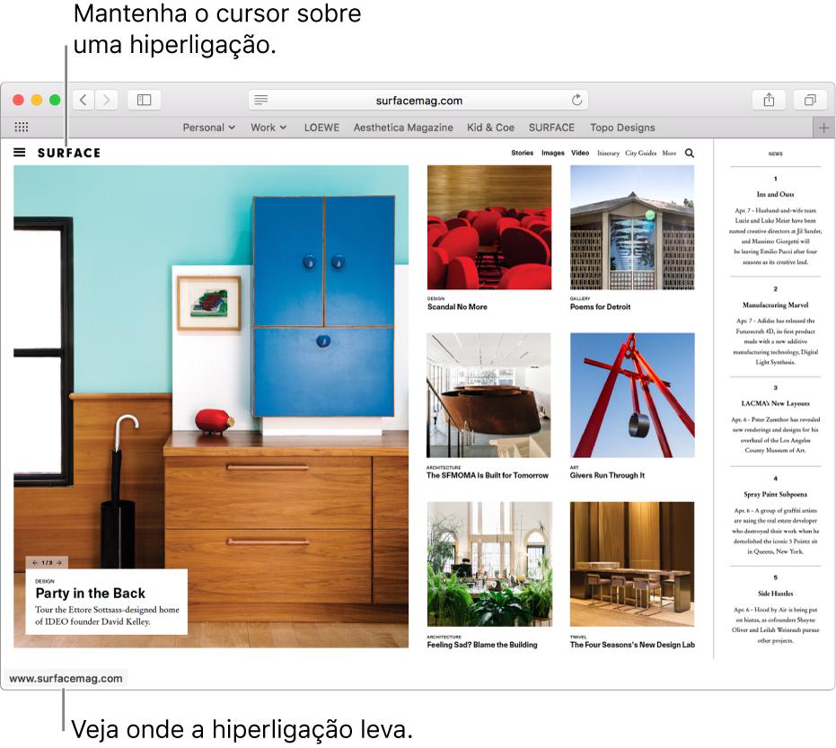 O cursor sobre uma hiperligação numa página web com o URL da hiperligação mostrada na barra de estado na parte inferior da janela.