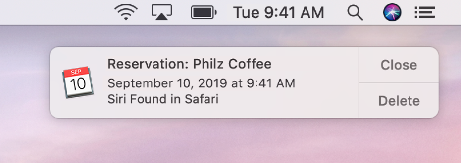 O sugestie Siri pentru adăugarea unui eveniment din Safari în Calendar.