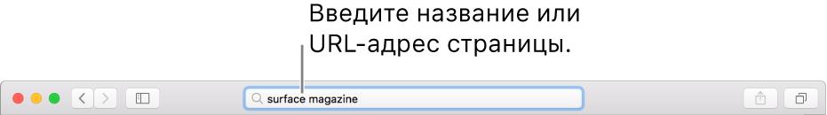 Поле смарт-поиска расположено по центру панели инструментов Safari.