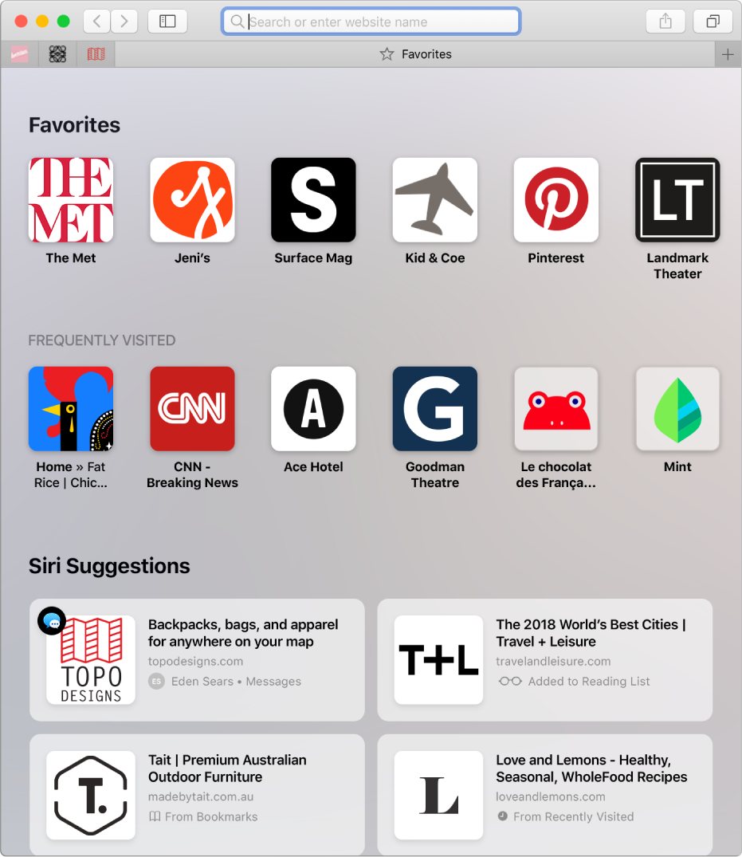 Safari 開始頁面,顯示喜好項目和經常造訪的網站以及「Siri 建議」。