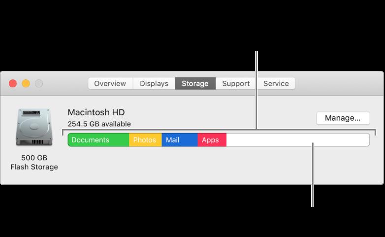 حرِّك المؤشر فوق أي لون لعرض مقدار مساحة التخزين التي تستخدمها كل فئة. تمثل المساحة البيضاء مقدار مساحة التخزين الفارغة.