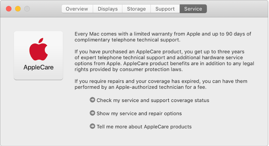 AppleCare 서비스 옵션을 표시하고 있는 시스템 정보의 서비스 패널.