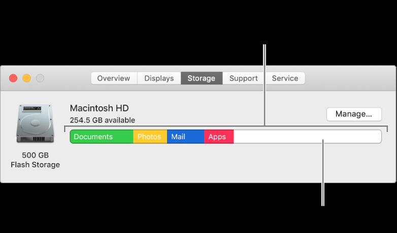Håll pekaren ovanpå en färg för att se hur mycket utrymme de enskilda kategorierna använder. Vitt utrymme visar ledigt lagringsutrymme.