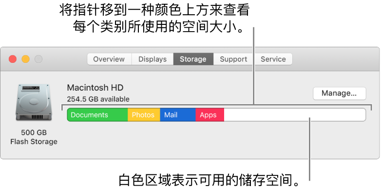 将指针移到一种颜色上来查看每种类别使用的空间量。白色区域表示实际可用的储存空间。