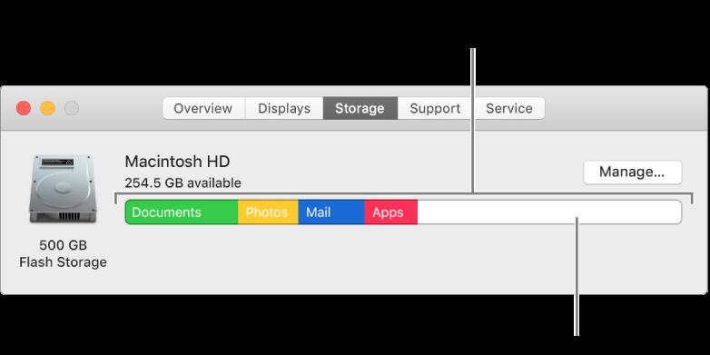 將游標移至顏色上來查看每個類別使用的空間容量。白色空間代表可用儲存空間。