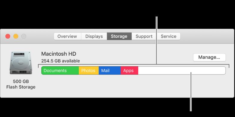 將指標移至顏色上來查看每個類別使用的空間容量。白色空間代表可用儲存空間。