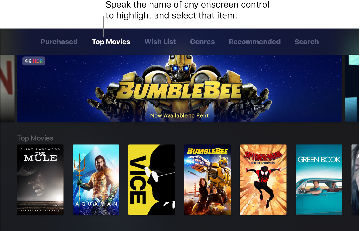 iTunes Movie Store showing menu commands that can be spoken