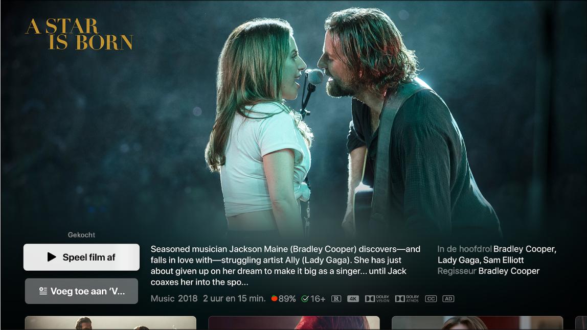 Scherm met informatie over films