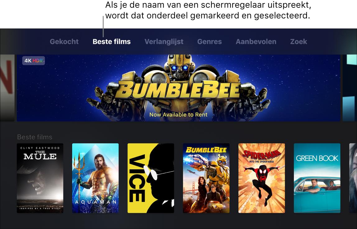 iTunes Movie Store met menucommando's die kunnen worden uitgesproken