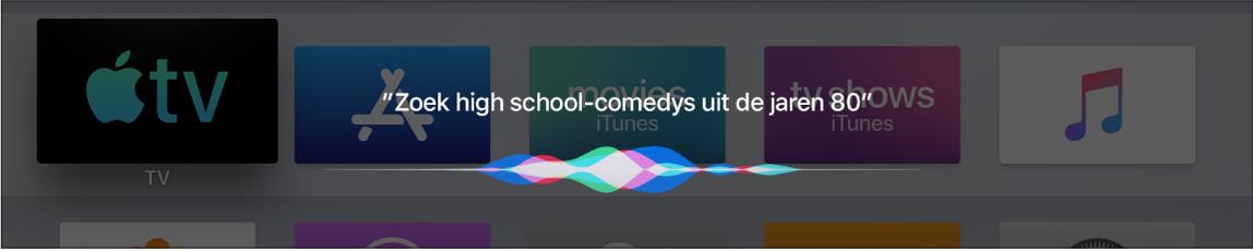 Scherm met Siri-zoekresultaten voor een film op basis van genre en datum