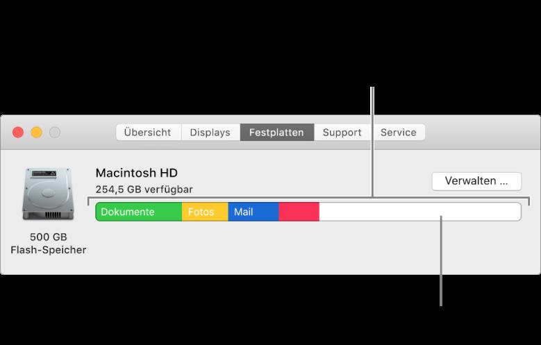 Wenn du den Zeiger auf eine Farbe bewegst, wird angezeigt, wie viel Speicherplatz die jeweilige Kategorie belegt. Der weiße Bereich repräsentiert den freien Speicherplatz.