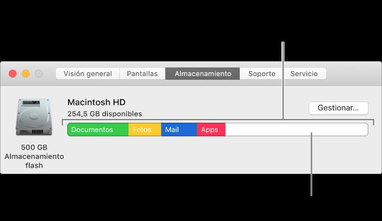 Mueve el puntero sobre un color para ver la cantidad de espacio que usa cada categoría. El blanco representa el espacio de almacenamiento libre.