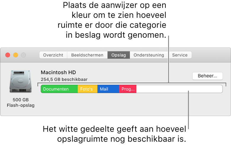 Houd de aanwijzer op een kleur om te zien hoeveel ruimte in elke categorie wordt gebruikt. Het witte gedeelte geeft aan hoeveel ruimte beschikbaar is.