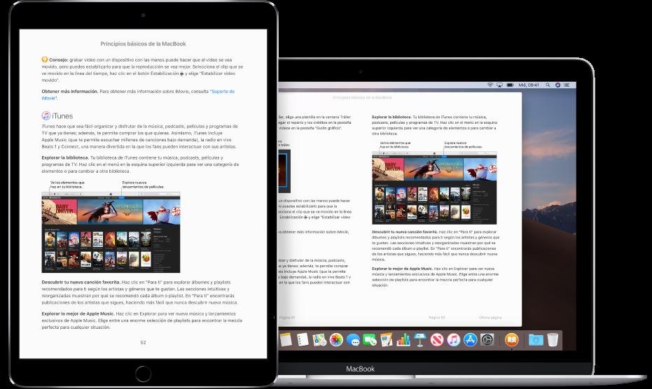 Un libro en la misma página en la app Libros en un iPad y una Mac.