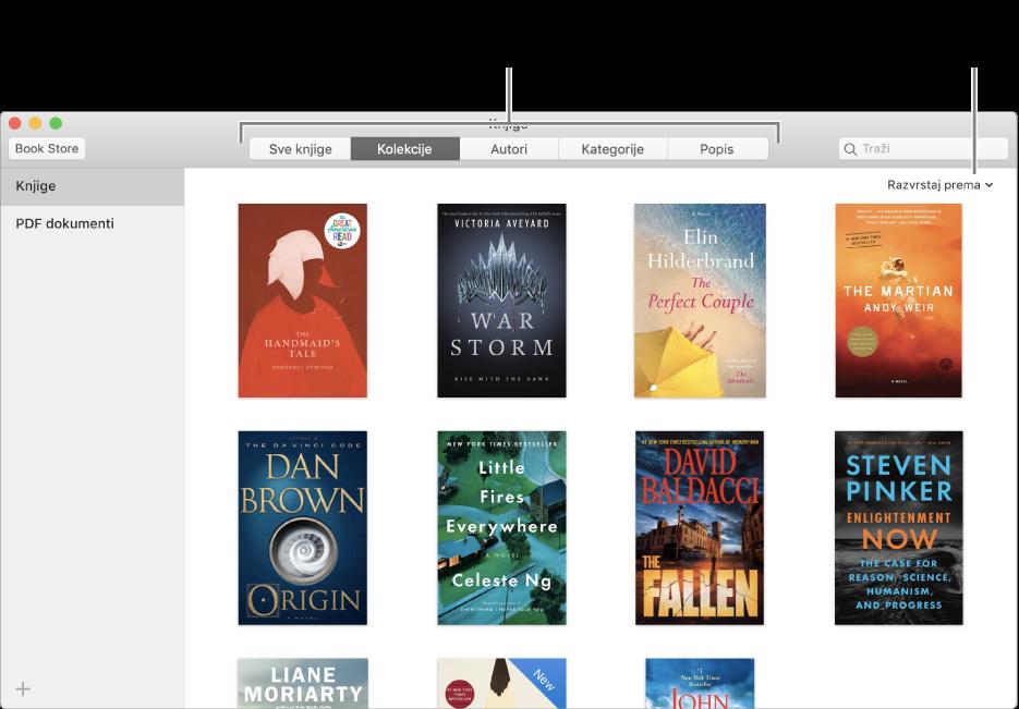 Kolekcija knjiga u biblioteci aplikacije Knjige.