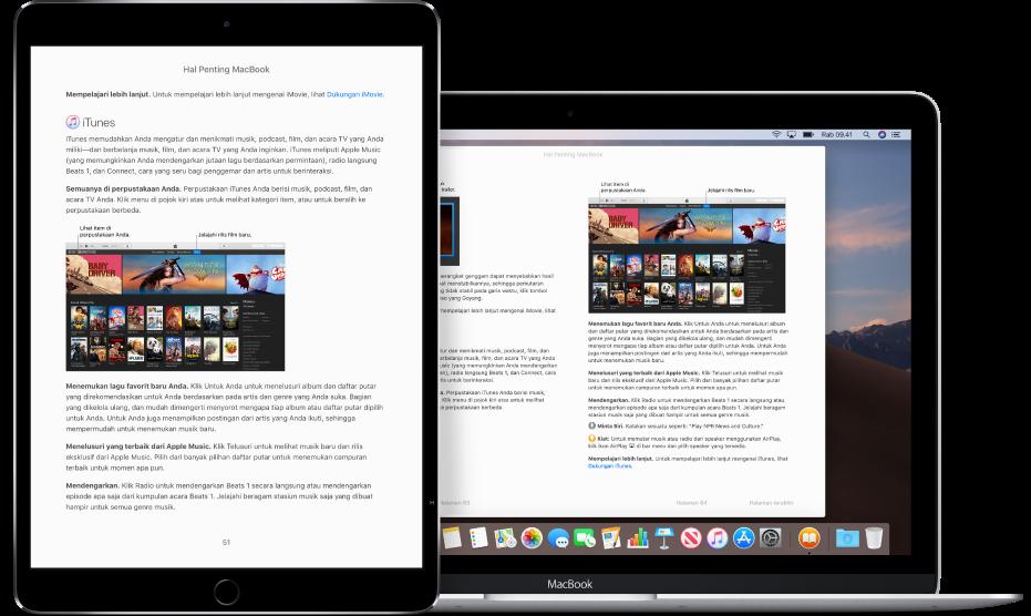 Buku di halaman yang sama di app Buku di iPad dan Mac.