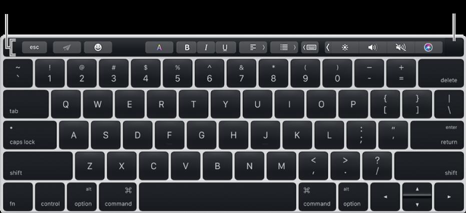 Papan kekunci dengan Touch Bar merentas bahagian atas; Touch ID terletak di hujung kanan Touch Bar.