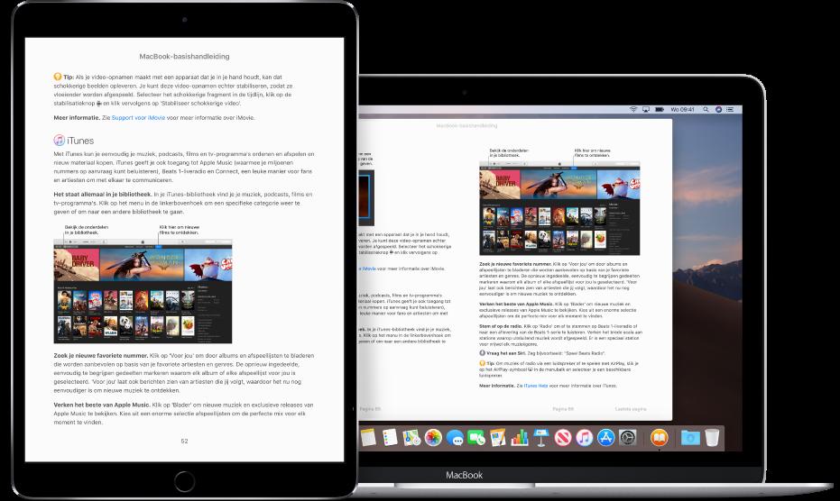 Een boek op dezelfde pagina in de Boeken-app op een iPad en in het programma Boeken op een Mac.