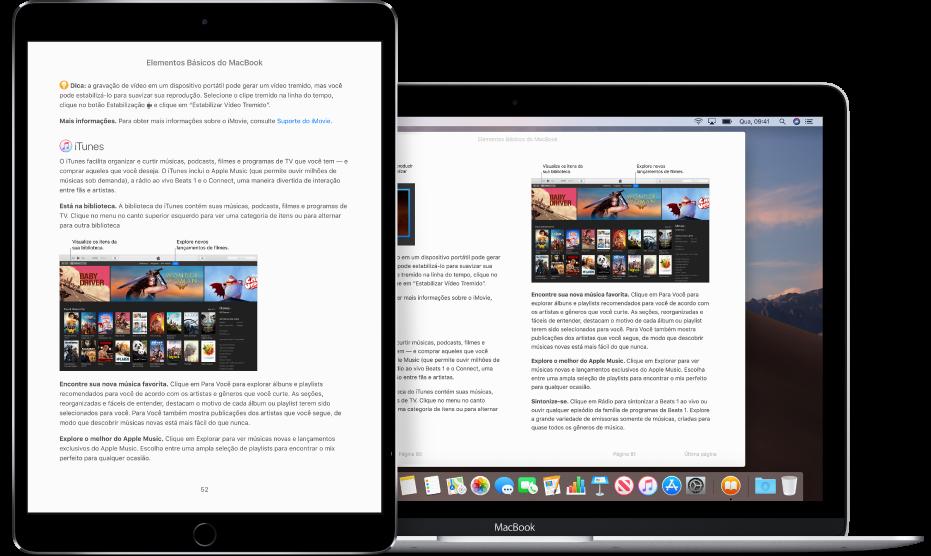 Um livro na mesma página no app Livros em um iPad e em um Mac.
