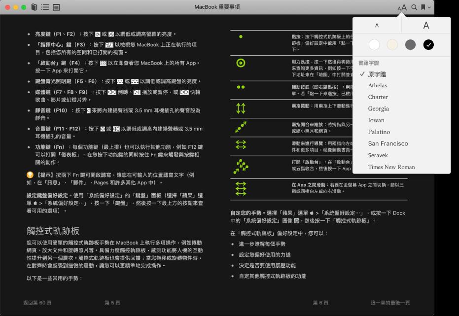 一本自定外觀的書籍和「外觀」選單,顯示所選文字大小、背景顏色和字體。