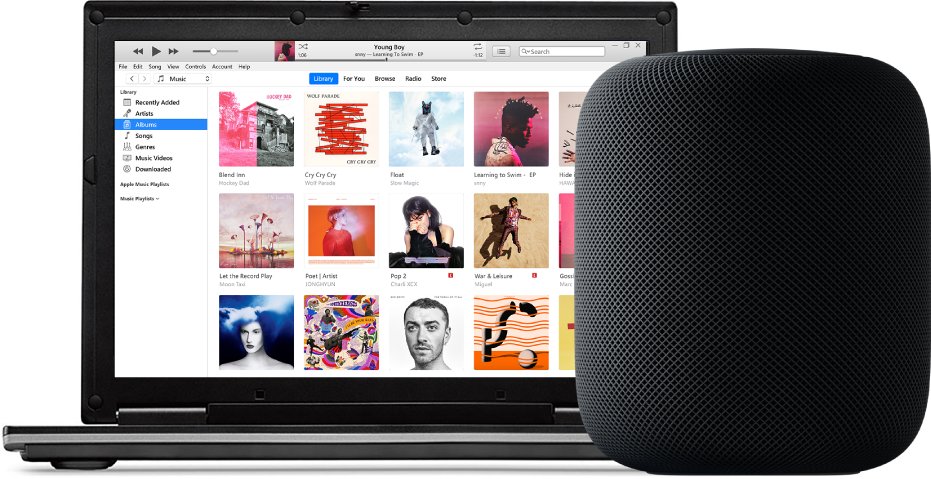 A PC with iTunes on the screen and a HomePod nearby.
