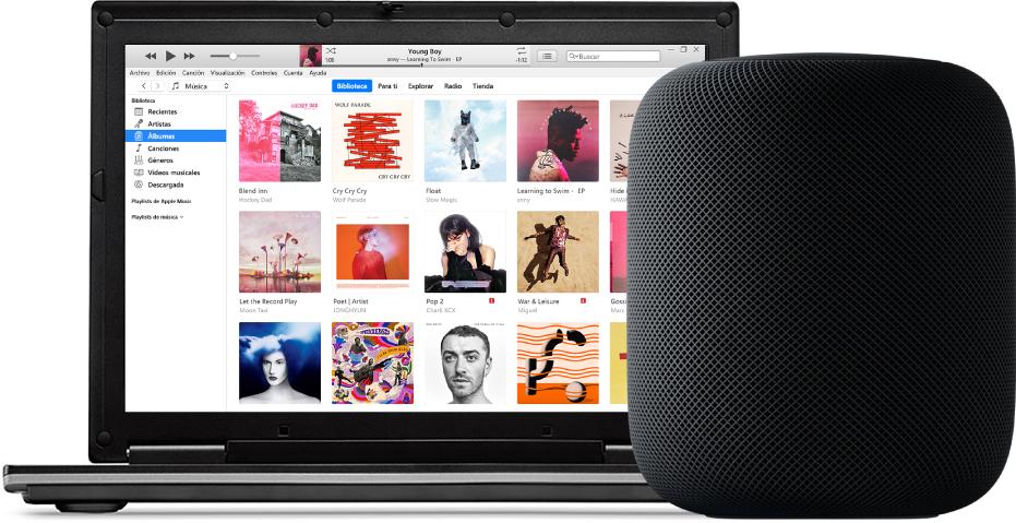 Una PC con iTunes en la pantalla y un HomePod cerca.