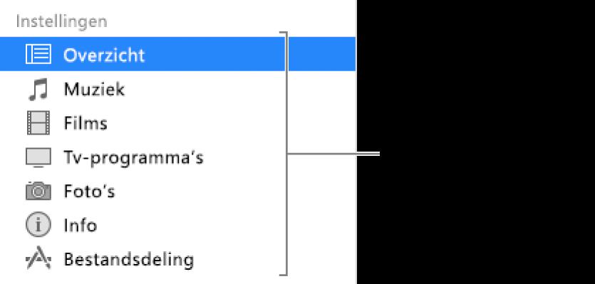 'Overzicht' is geselecteerd in de navigatiekolom aan de linkerkant. De typen materiaal die worden weergegeven, verschillen mogelijk, afhankelijk van je apparaat en de inhoud van je iTunes-bibliotheek.